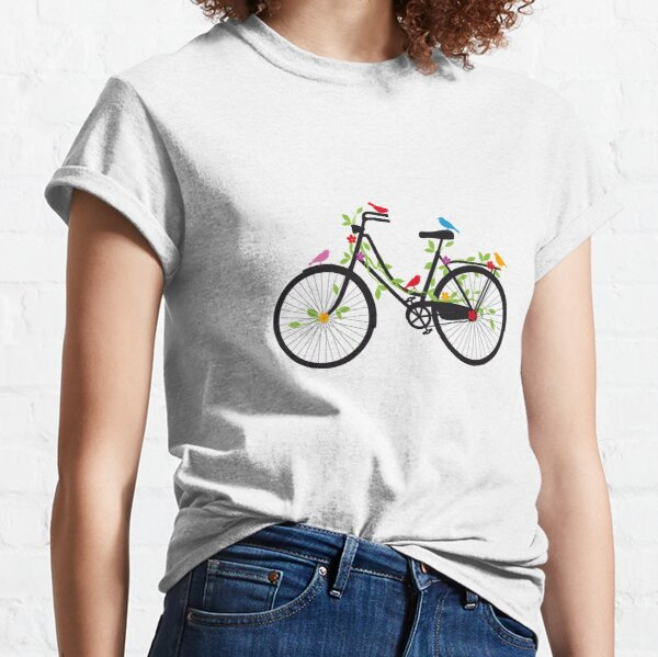 Old vintage bicycle with flowers and birds Classic T-Shirt