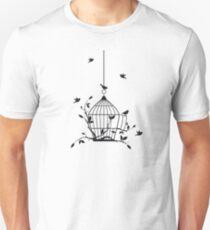 Free birds with open birdcage Unisex T-Shirt