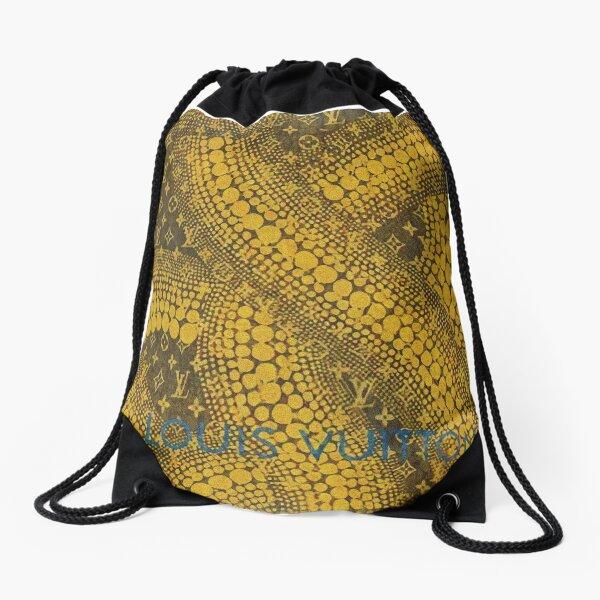 Yayoi Kusama gold brown yellow pattern louis Drawstring Bag