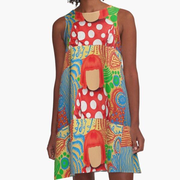 Yayoi Kusama visage no face red dots polka A-Line Dress