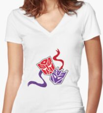 Drama Transformers Women's Fitted V-Neck T-Shirt