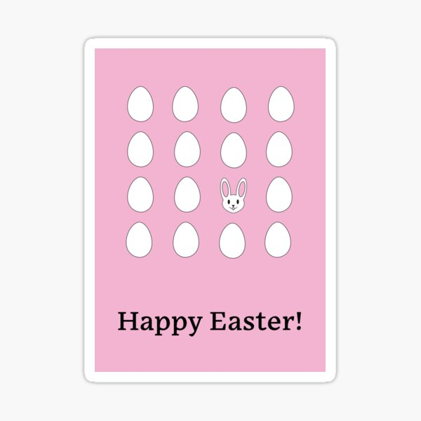 Happy Easter Bunny White Uncolored Eggs Over Pink Sticker