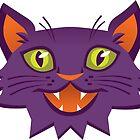 Meow Face Sticker by Elizabeth Levesque