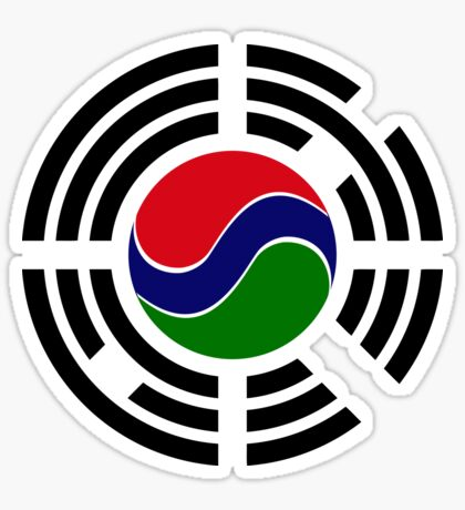 Korean Gambian Multinational Patriot Flag Series Sticker