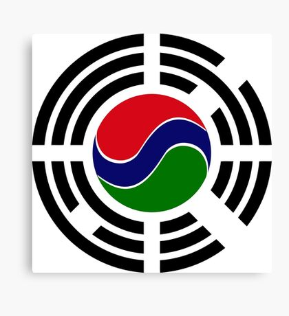 Korean Gambian Multinational Patriot Flag Series Canvas Print