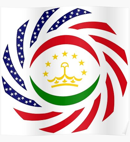 Tajik American Multinational Patriot Flag Series Poster