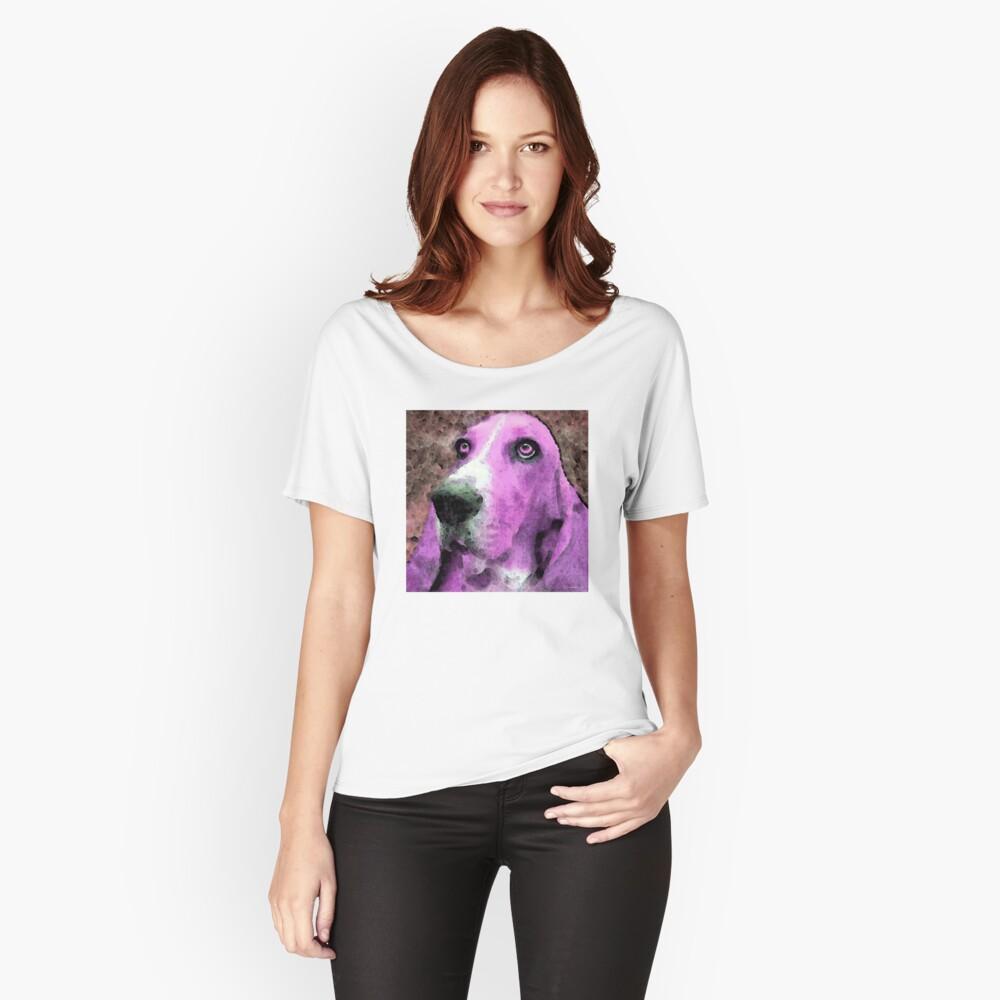 Basset Hound - Pop Art Pink Women's Relaxed Fit T-Shirt Front