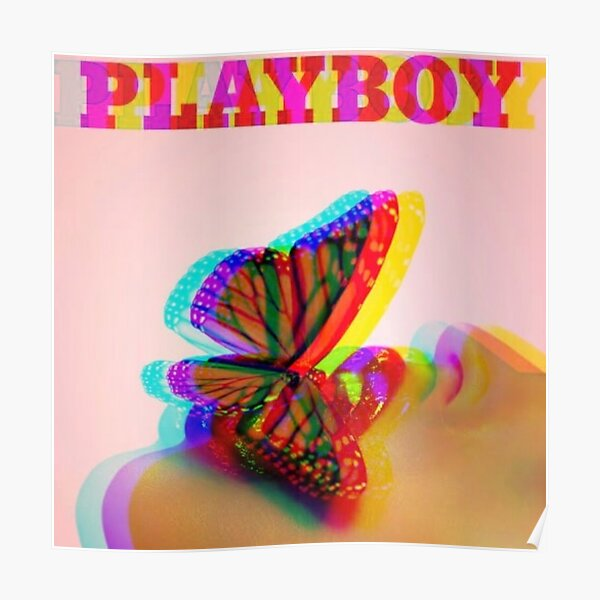 COLORFUL PLAYBOY BUNNY AND BUTTERFLY GLITCH Poster