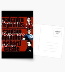 The Captain, The Superhero, and The Writer Postcards