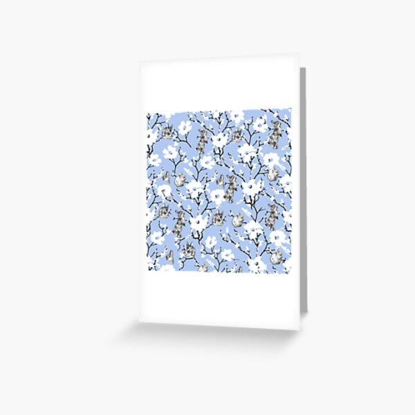 Le petit lapin de Pâques Flop Fond bleu Carte de vœux
