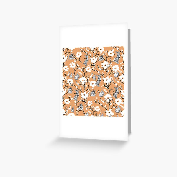 Le petit lapin de Pâques Flop Fond orange Carte de vœux