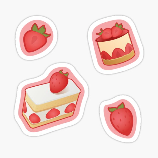 Strawberries and strawberry cakes Stickers Sticker