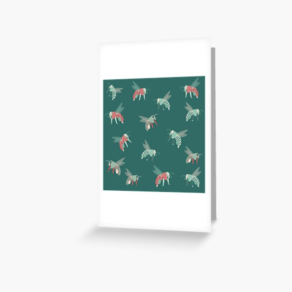 Bees Pattern in Red and Green Greeting Card