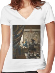 Johannes Vermeer - The Art of Painting 1666 - 1668 Women's Fitted V-Neck T-Shirt