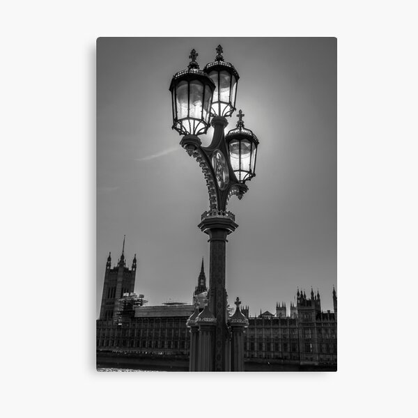 Lamppost in black and white Canvas Print