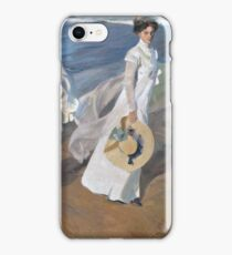 Joaquin Sorolla y Bastida - Strolling along the Seashore 1909 , Fashion , Portrait iPhone Case/Skin