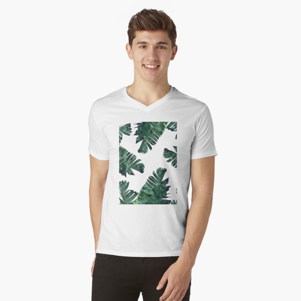 Bananen-Blatt #Watercolor Pattern # redbubble T-Shirt mit V-Ausschnitt