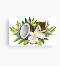 Watercolor vanillla flowers and coconut Canvas Print