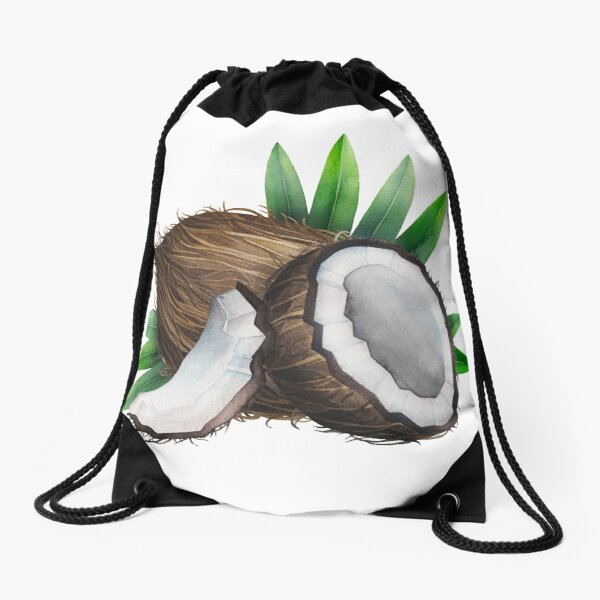 Watercolor coconut Drawstring Bag