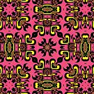 Coral Colored Surf Girl Abstract Pattern by LouisaCatharine