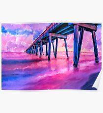 Pensacola Beach Gulf Pier - Coastal Florida Panhandle Sunset Poster