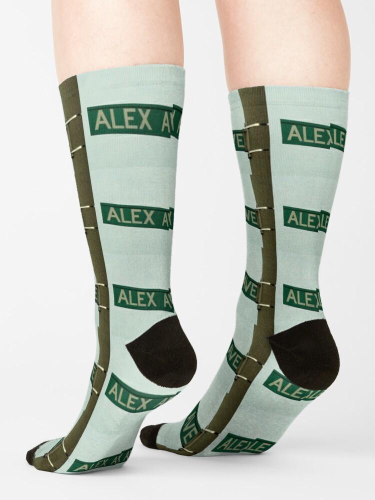 Alternate view of Alex, Alex magnet, Alex sticker, Alex mask, Alex mug  Socks