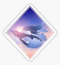 Graphic whales flying in the nigh sky Sticker