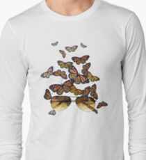 Watercolor monarch butterflies flying out of aviator sunglasses T-Shirt