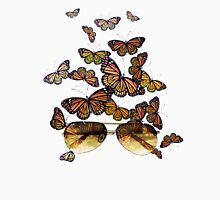 Watercolor monarch butterflies flying out of aviator sunglasses Unisex T-Shirt