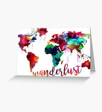 Watercolor Wanderlust World Map  Greeting Card