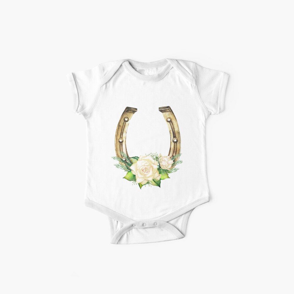 Watercolor horseshoes in golden color with white roses design Baby One-Piece