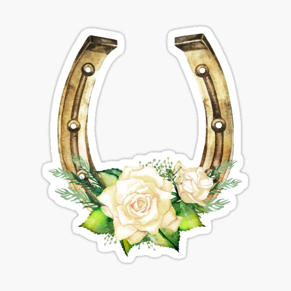 Herraduras de acuarela en color dorado con diseño de rosas blancas Pegatina
