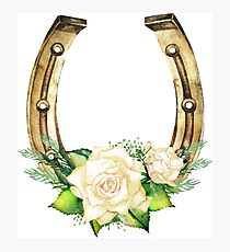 Watercolor horseshoes in golden color with white roses design Photographic Print