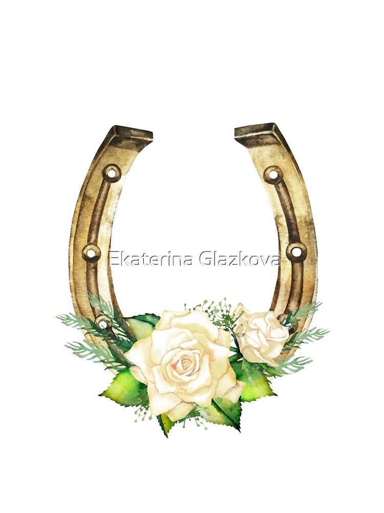 Watercolor horseshoes in golden color with white roses design by Glazkova