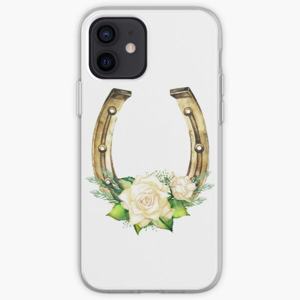 Watercolor horseshoes in golden color with white roses design iPhone Soft Case