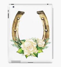 Watercolor horseshoes in golden color with white roses design iPad Case/Skin
