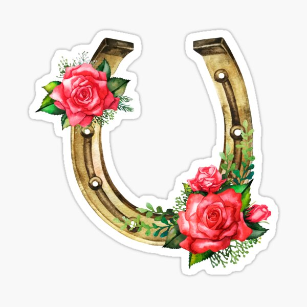 Watercolor horseshoes in golden color with red roses design Sticker