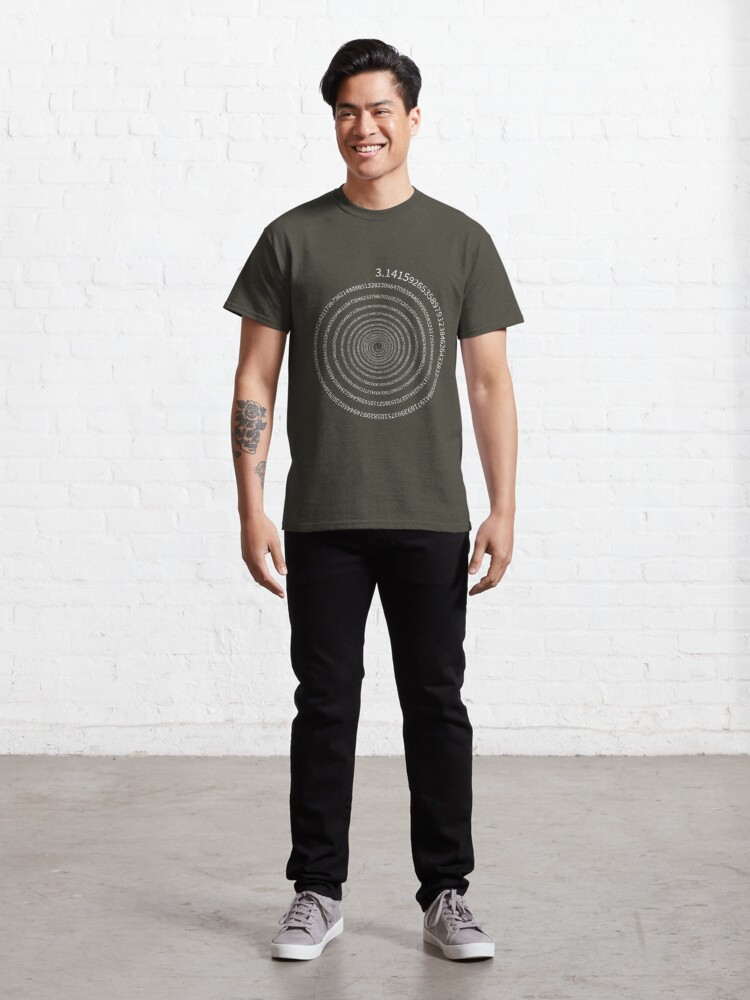 Alternate view of Pi Digits Spiral (white text) Classic T-Shirt
