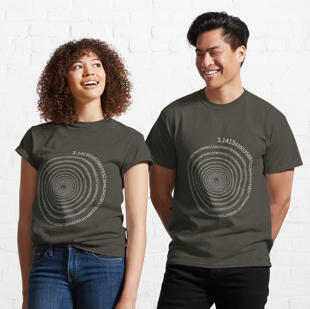 Pi Digits Spiral (white text) Classic T-Shirt