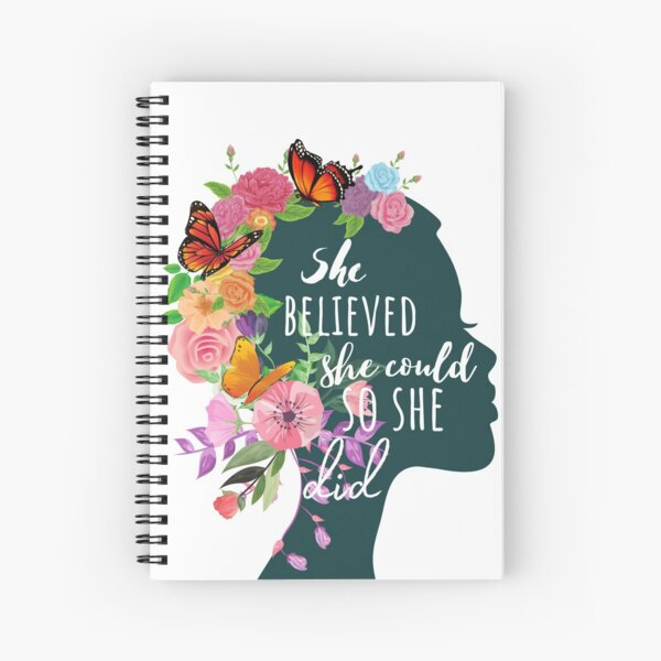 She Believed She Could So She Did - Botanical Spiral Notebook