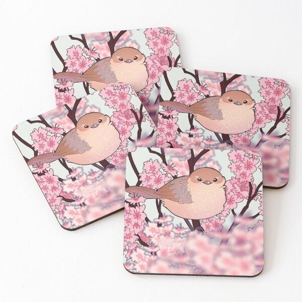 """you are too BEAUTIFUL and PRECIOUS"" Sakura Blossom Bushtit Bird Coasters (Set of 4)"