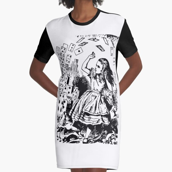 A Girl Trapped with Cards Graphic T-Shirt Dress