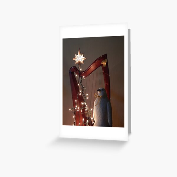 Harp & Bird in Holiday Lights Greeting Card