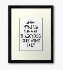Dire Wolf list Framed Print