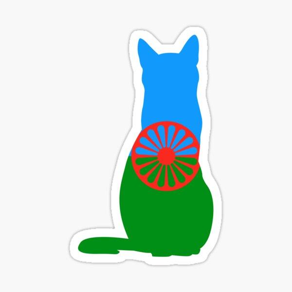 Bandera de gato romaní Pegatina