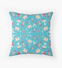 Fun monsters on blue Throw Pillow