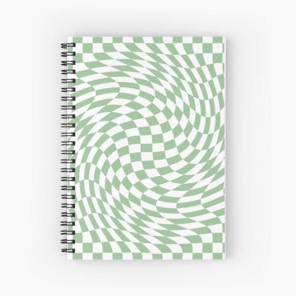 Sage Green and White Checker Warp Pattern Spiral Notebook