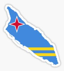 Flag Map of Aruba  Sticker