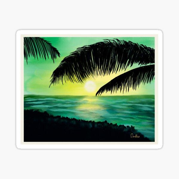 The Caribbean green sunset  Sticker