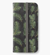 Watercolor pine branches pattern on black background iPhone Wallet/Case/Skin